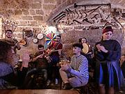 PUGLIA , ITALY, Matino,  A Locanda tu Marchese, folk musicians in the restaurant, tavern of the Locanda