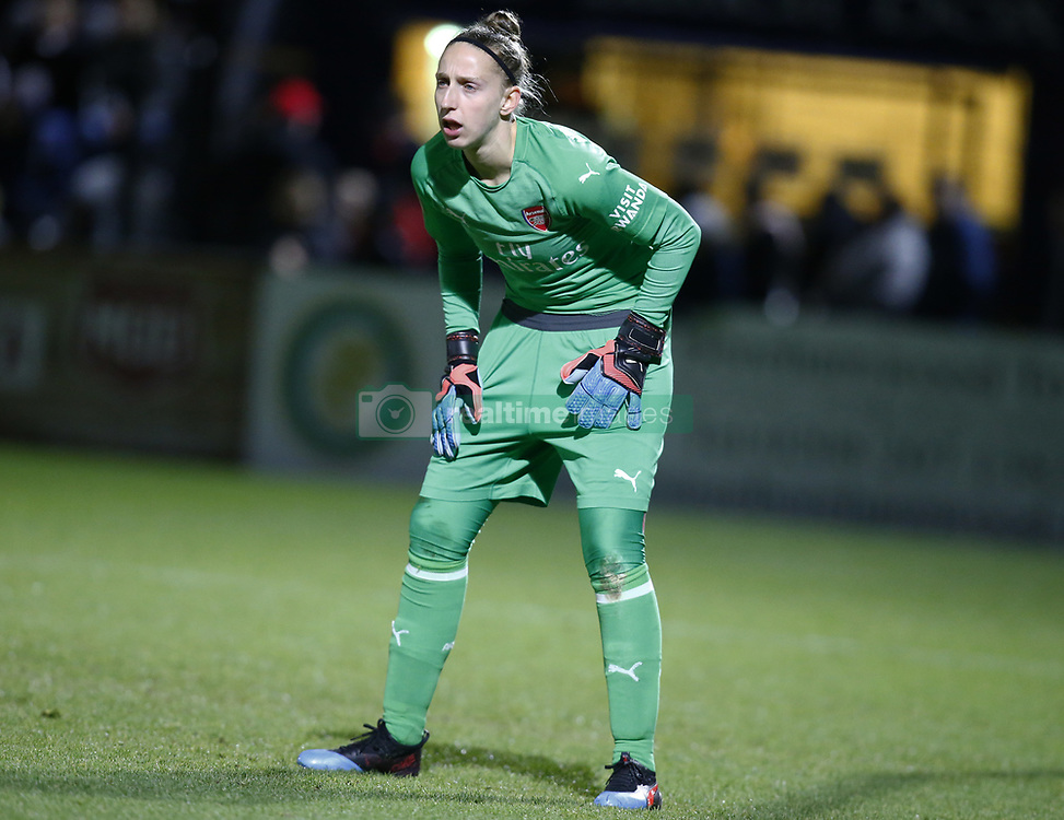 February 7, 2019 - London, England, United Kingdom - Sari van Veenendaal of Arsenal .during FA Continental Tyres Cup Semi-Final match between Arsenal and Manchester United Women FC at Boredom Wood on 7 February 2019 in Borehamwood, England, UK. (Credit Image: © Action Foto Sport/NurPhoto via ZUMA Press)