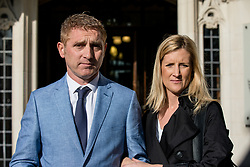 © Licensed to London News Pictures. 06/04/2017. London, UK. JON PLATT with his wife outside the Supreme Court in London. Platt took his daughter out of school for seven days during term time, and was subsequently prosecuted when he refused to pay the £60 penalty charge. The High Court ruled in Platt's favour concluding that he did not have to pay the fine, but Isle of Wight Council appealed the decision with the support of the Department for Education. The ruling is due today. Photo credit: Rob Pinney/LNP