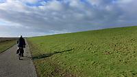 SCHIERMONNIKOOG - fietsen langs de dijk , Waddenzeedijk, Waddeneiland Schiermonnikoog.  ANP COPYRIGHT KOEN SUYK