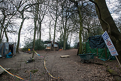 Wendover, UK. 9th April, 2021. A section of an environmental protection camp is pictured at Jones Hill Wood, ancient woodland said to have inspired Roald Dahl, during tree felling operations for the HS2 high-speed rail link. Tree felling work began this week, in spite of the presence of resting places and/or breeding sites for pipistrelle, barbastelle, noctule, brown long-eared and natterer's bats, following the issuing of a bat licence to HS2's contractors by Natural England on 30th March.