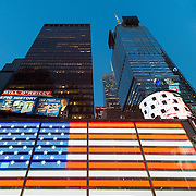 Neon United States flag in Times Square