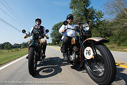 """Team Vino"" - Dean Bordigioni (Dino) on his 1923 Harley-Davidson JS with his Swedish friend Robert Gustavsson (Big Swede) on his 1931 Harley-Davidson VL during Stage 3 of the Motorcycle Cannonball Cross-Country Endurance Run, which on this day ran from Columbus, GA to Chatanooga, TN., USA. Sunday, September 7, 2014.  Photography ©2014 Michael Lichter."
