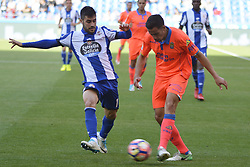 May 20, 2017 - Carles Gil and Hernan. LA CORUNA SPAIN. MAY 20, 2017 - La Liga Santander match day 38 game. Deportivo La Coruna defeated Las Palmas with goals scored by Florin And one (4th and 28th minute) and Carles Gil (39th minute). Riazor Stadium, Spain. Photo by Monica Arcay Carro | PHOTO MEDIA EXPRESS (Credit Image: © Monica Arcay Carro/VW Pics via ZUMA Wire/ZUMAPRESS.com)