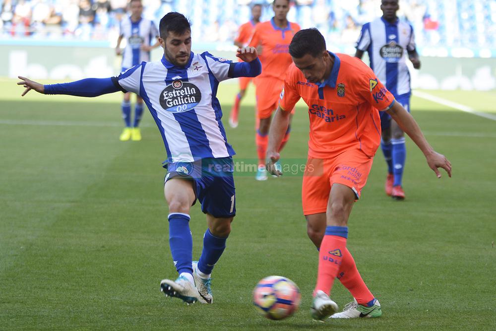 May 20, 2017 - Carles Gil and Hernan. LA CORUNA SPAIN. MAY 20, 2017 - La Liga Santander match day 38 game. Deportivo La Coruna defeated Las Palmas with goals scored by Florin And one (4th and 28th minute) and Carles Gil (39th minute). Riazor Stadium, Spain. Photo by Monica Arcay Carro | PHOTO MEDIA EXPRESS (Credit Image: © Monica Arcay Carro/VW Pics via ZUMA Wire/ZUMAPRESS.com)