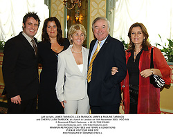 Left to right, JAMES TARBUCK, LIZA TARBUCK, JIMMY & PAULINE TARBUCK and CHERYL LASA-TARBUCK, at a lunch in London on 14th November 2003.  POO 109