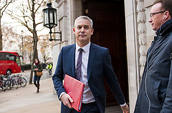 © Licensed to London News Pictures. 26/11/2018. London, UK. Brexit secretary STEPHEN BARCLAY is seen in Westminster following a radio interview. The leaders of 27 EU states have approved an agreement on the UK's withdrawal and future relations. Photo credit: Ben Cawthra/LNP