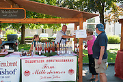 Selling home made schnapps at Farmer's market, Zell am Ziller, Tyrol, Austria