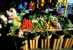 Stock photo of a girl selecting bananas at the farmer's market in Houston Texas