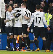 Everton celebrate their opening goal during the Barclays Premier League match between Chelsea and Everton at Stamford Bridge, London, England on 16 January 2016. Photo by Andy Walter.