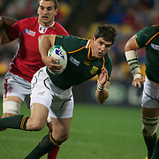 Jaque Fourie, South Africa, in action during the Wales V South Africa, Pool D match during the Rugby World Cup in Wellington, New Zealand,. 11th September 2011. Photo Tim Clayton