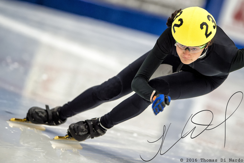 March 19, 2016 - Verona, WI - Elizabeth Johnson, skater number 232 competes in US Speedskating Short Track Age Group Nationals and AmCup Final held at the Verona Ice Arena.