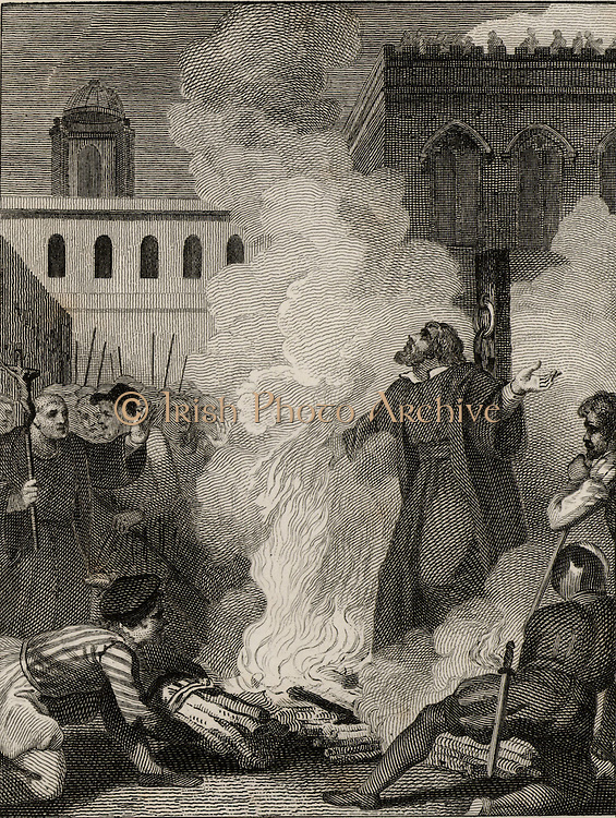 Thomas Cranmer (1489-1556), English Protestant prelate, Archbishop of Canterbury.  Burnt at the stake at Oxford under the reign of the Roman Catholic queen Mary I for refusing to recognise Papal jurisdiction. From 'The Imperial History of England' by Theophilus Camden (London, 1832). Engraving.