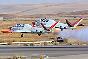 2 Israeli Air force Fouga Magister CM-170 aerobatics display at takeoff