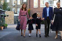 Princess Charlotte arrives for her first day of school at Thomas's Battersea in London, accompanied by her brother Prince George and her parents the Duke and Duchess of Cambridge.