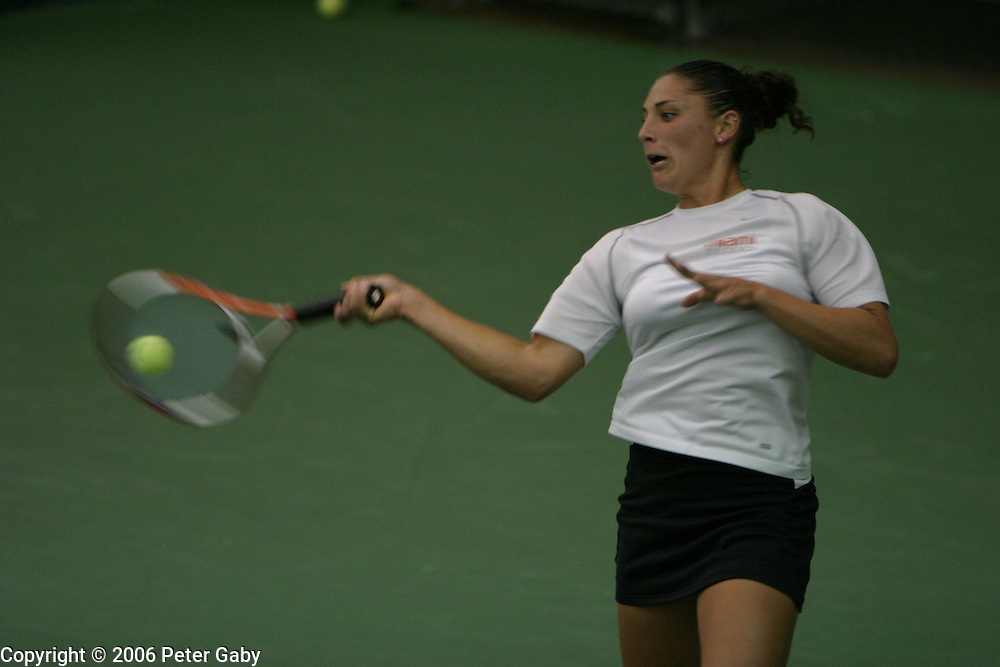 Audra Cohen, Miami, vs. Suzi Foder, California-Berkly at the  19th Annual USTA/ITANational Women's Team Indoor Championships at the Nielsen Tennis Stadium in Madison, WI. Feb. 2-5, 2006