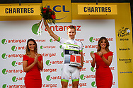 Podium, Hotess, miss, Laurent Pichon (FRA - Fortuneo - Samsic), during the 105th Tour de France 2018, Stage 7, Fougeres - Chartres (231km) on July 13th, 2018 - Photo Luca Bettini / BettiniPhoto / ProSportsImages / DPPI