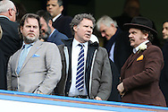 Hollywood actor Will Ferrel (centre) and John C. Reilly (right) look on from the stands after full time. Premier league match, Chelsea v Arsenal at Stamford Bridge in London on Saturday 4th February 2017.<br /> pic by John Patrick Fletcher, Andrew Orchard sports photography.