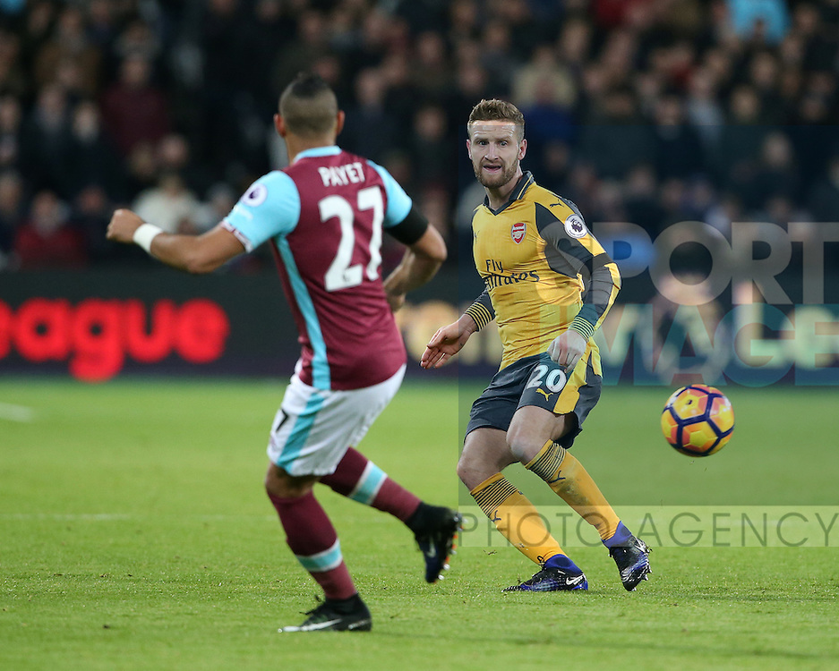 Arsenal's Shkodran Mustafi in action during the Premier League match at the London Stadium, London. Picture date December 3rd, 2016 Pic David Klein/Sportimage