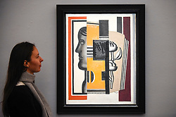 © Licensed to London News Pictures. 29/01/2020. LONDON, UK. A staff member views ''Le Buste'' by Fernand Léger, (Est. £1,300,000 - 1,600,000). Preview of Sotheby's Impressionist & Modern and Surrealist Art sales.  The auction will take place at Sotheby's New Bond Street on 4 and 5 February 2020.  Photo credit: Stephen Chung/LNP