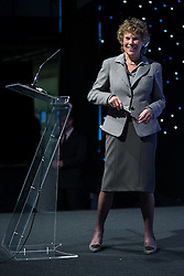 """© Licensed to London News Pictures . 25/05/2016 . Bolton , UK . KATE HOEY speaks . Nigel Farage , Kate Hoey and Paul Nuttall at a """" We Want Our Country Back """" public meeting in favour of the UK leaving the EU at the Premier Suite of Bolton Wanderers' Macron Stadium . Photo credit : Joel Goodman/LNP"""