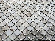 Slate roof pattern. The Hardanger Folk Museum was founded in 1911 in Utne, Norway.