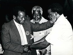 1972 - OAU Summit, Nairobi: The leaders of the Liberation movements for Southern Africa greet each other. On left is Mr Oliver Tambo President of African National Congress of South Africa greeting the President of SWAPO Mr Sam Nujoma. In centre is SWAPO'S Secretary for Foreign Relations Peter Mueshinhange. Credit: Camerapix (Credit Image: © Keystone Pictures USA/ZUMAPRESS.com)