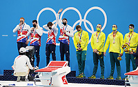 TOKYO, JAPAN - JULY 28:  Matthew Richards, Duncan Scott, Tom Dean and James Guy of Great Britain are seen after winning the Men's 4x200m Freestyle Relay on day five of the Tokyo 2020 Olympic Games at Tokyo Aquatics Centre on July 28, 2021 in Tokyo, Japan. <br /> <br /> Credit: COLORSPORT/Ian MacNicol
