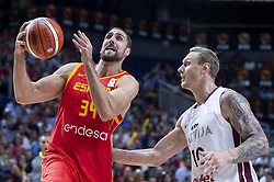 September 17, 2018 - Madrid, Spain - Pablo Aguilar of Spain and Janis Timma of Latvia during the FIBA Basketball World Cup Qualifier match Spain against Latvia at Wizink Center in Madrid, Spain. September 17, 2018. (Credit Image: © Coolmedia/NurPhoto/ZUMA Press)