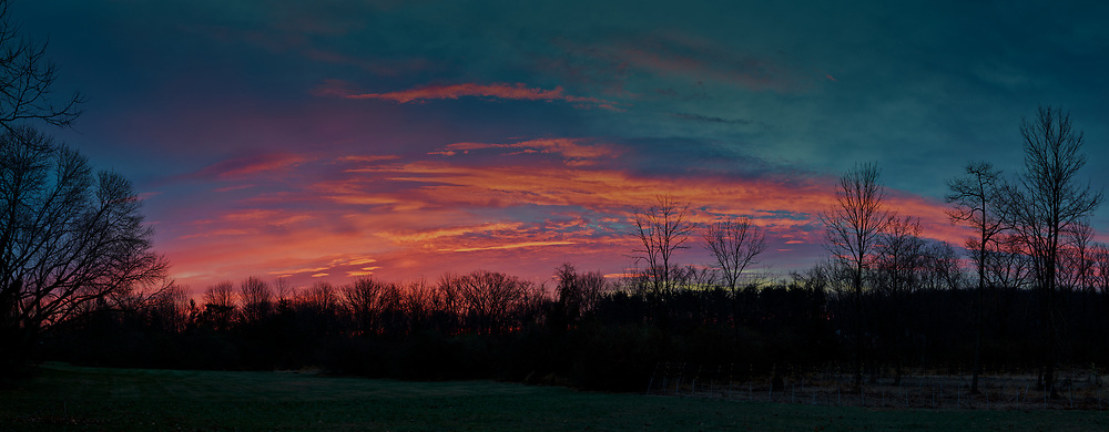 Colorful Clouds at Dawn. Composite of eight images taken with a Leica SL2 camera and 50 mm f/1.4 lens (ISO 400, 50 mm, f/2.8, 1/80 sec). Raw images processed with Capture One Pro, and combined using AutoPano Giga Pro.