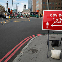 Covid-19 Stay 2m apart sign;<br />