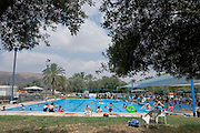 Israel, Jordan Valley, Kibbutz Ashdot Yaacov, Outdoor Swimming pool