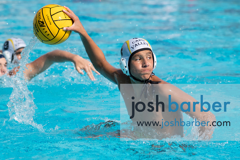 Capistrano Valley's Logan Sandhu during the CIF-SS Division 4 boys water polo Final at William Woollett Jr. Aquatic Center on Saturday, November 10, 2018 in Irvine, Calif. (Photo by Josh Barber, Contributing Photographer)
