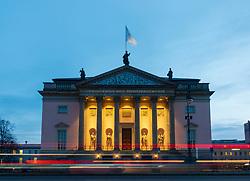 Evening view of Berlin Staatsoper (opera house) Berlin State Opera, on Unter Den Linden  in Mitte, Berlin, Germany