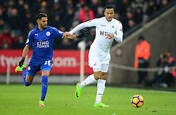 Martin Olsson of Swansea City battles for ball with Riyad Mahrez of Leicester City - Mandatory by-line: Alex James/JMP - 12/02/2017 - FOOTBALL - Liberty Stadium - Swansea, England - Swansea City v Leicester City - Premier League