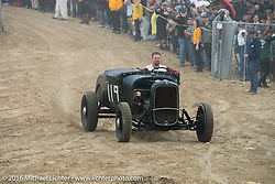 Corey  Swenson riding onto the beach in his 1929 Ford Roadster at TROG West - The Race of Gentlemen. Pismo Beach, CA, USA. Saturday October 15, 2016. Photography ©2016 Michael Lichter.