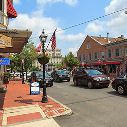 Gettysburg, PA, USA - June 30, 2013:  Busy Baltimore Street looking toward the square in downtown Gettysburg.