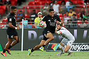 Regan Ware on attack close to the line during Day 3 of the HSBC World Rugby Sevens, Mens Cup Final match between New Zealand and USA, 2019, Spotless Stadium, Saturday 3rd February 2019. Copyright Photo: David Neilson / www.photosport.nz