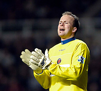 Photo: Jed Wee.<br /> Newcastle United v Charlton Athletic. The Barclays Premiership. 22/02/2006.<br /> <br /> Charlton goalkeeper Thomas Myhre tries to encourage his team mates.