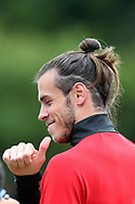 Gareth Bale of Wales gives the thumbs up as he arrives for the Wales football team training at the Vale Resort in Hensol, near Cardiff , South Wales on Tuesday 29th August 2017.  the team are preparing for their FIFA World Cup qualifier home to Austria this weekend.  pic by Andrew Orchard, Andrew Orchard sports photography