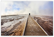 Fog and frost in the very early morning at the Grand Prismatic Spring, Midway Geyser Basin, Yellowstone National Park, Wyoming, USA