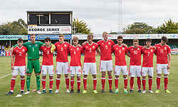 RHYL, WALES - Saturday, September 2, 2017: Wales line up for National Anthems before the Under-19 international friendly match between Wales and Iceland at Belle Vue. (Pic by Gavin Trafford/Propaganda)