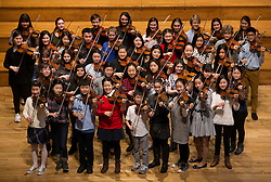 © Licensed to London News Pictures. 07/04/2016. London, UK.  43 of the world's best young violinists gather for the Menuhin Competition at The Royal Academy of Music. To celebrate the 100th anniversary of Yehudi Menuhin's birthday, the Menuhin Competition returns to London for the first time since 2004. International soloists and 44 of the world's best young violinists will star in an 11-day festival of concerts and events from 7-17 April 2016. Photo credit: Peter Macdiarmid/LNP