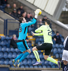 Raith Rovers keeper Conor Brenan and Hibernian's Brian Graham. Raith Rovers 1 v 1 Hibernian, Scottish Championship game played 18/2/2017 at Starks Park.