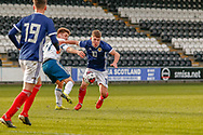 Kai Kennedy (Rangers FC) challenges for the ball during the U17 European Championships match between Scotland and Russia at Simple Digital Arena, Paisley, Scotland on 23 March 2019.