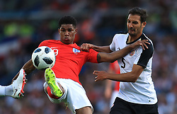 England's Marcus Rashford (left) and Costa Rica's Celso Borges battle for the ball during the International Friendly match at Elland Road, Leeds.