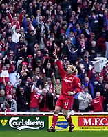 Photo. Glyn Thomas.<br /> Middlesbrough v Birmingham City.<br /> FA Barclaycard Premiership.<br /> Riverside Stadium, Middlesbrough. 20/03/2004.<br /> Gaizka Mendieta celebrates his early goal for Boro as the home fans go wild.
