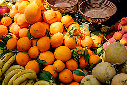 A selection of fresh fruit on sale from a stall in the medina in Marrakech, Morocco, North Africa<br /> <br /> <br /> (c) Andrew Wilson | Edinburgh Elite media