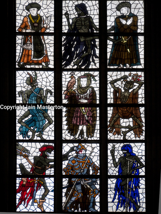 View of stained glass windows in Marienkirche in city of Lubeck in Germany