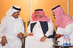 "File photo - L-R : Qatar's Emir Sheikh Tamim Bin Hamad Al Thani, Saudi Crown Prince Mohammed Bin Nayef and Defense Minister Mohammed Bin Salman Al Saud attend a dinner after military drill ""Northern Thunder"" in Hafr Al Batin area, north of Saudi Arabia, on March 11, 2016. A new Saudi anti-corruption body has detained 11 princes, four sitting ministers and dozens of former ministers, media reports say. The detentions came hours after the new committee, headed by Crown Prince Mohammed bin Salman, was formed by royal decree. Photo by Balkis Press/ABACAPRESS.COM  